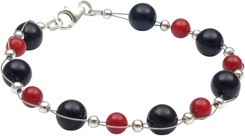 Pulsera de ónix & coral, Negro de color rojo Arm Cadena joyas para mujer