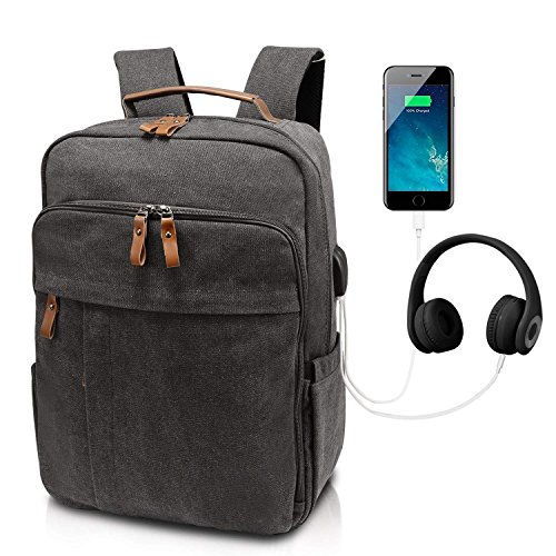 Business Laptop Backpack 17-17.3 Inch w/USB Charging Port Water-Resistant Canvas Backpack for Work College School Travel