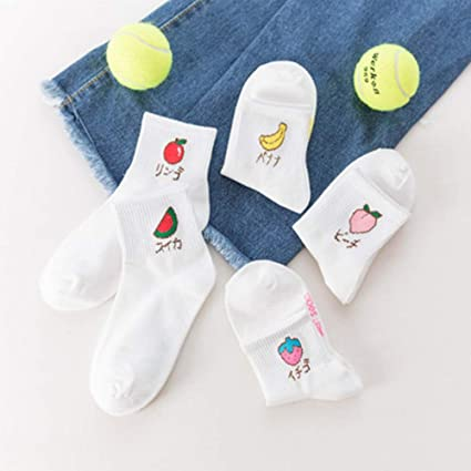 Amazon.com: Autumn Water Kawaii Fruits Print Socks Women Summer Korean Sock Funny Cute Low Cut Ankle Happy White sokken Harajuku Short Sock Women: Kitchen & ...