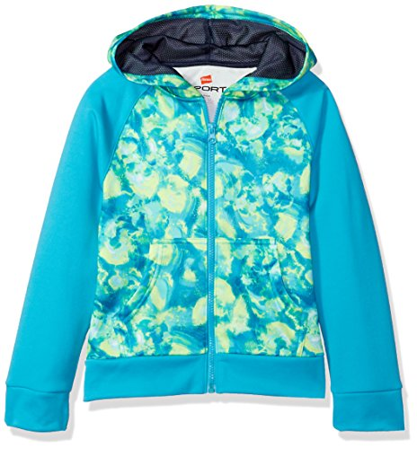 Hanes Girls' Big Tech Fleece Raglan Zip Hood, Cloud Floral Green, ()