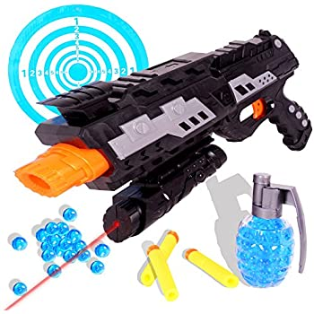 ONE DAY SALE!!! 2 In 1 Shooting Gun Toy By Tevelo – Super Sniper Weapon Toy – Great Fun Foam Blaster Toy With Foam Darts, Water Polymer Balls And Dartboard