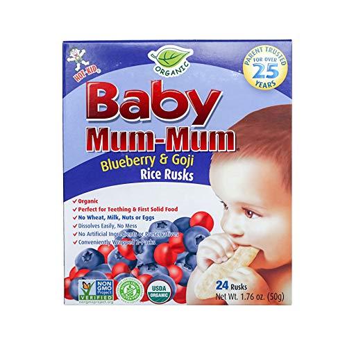 Hot-Kid Baby Mum-Mum Rice Rusks, Organic Blueberry & Goji, 24 Pieces (Pack of 6)