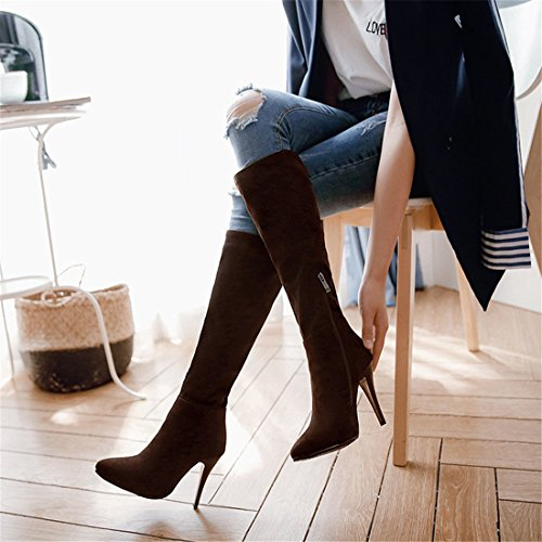de Botas de DEDE Altas Sandalette Botas Altas Botas Gran tamaño Mujer Botas Altas de brown Moda Ante Botas 6vvYdqx