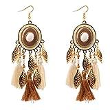 CHOA Disc Leaf Tassel Earrings - Bohemian Long Cotton Gold Leaves Disc Dangle Drop Earrings for Women (Brown)