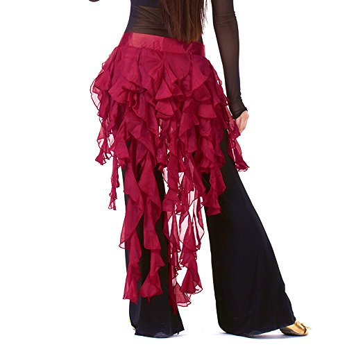 (13 Color Fox Tail Scarf, Waist Belt, Egypt Belly Dance Hip Scarf (Wine red))