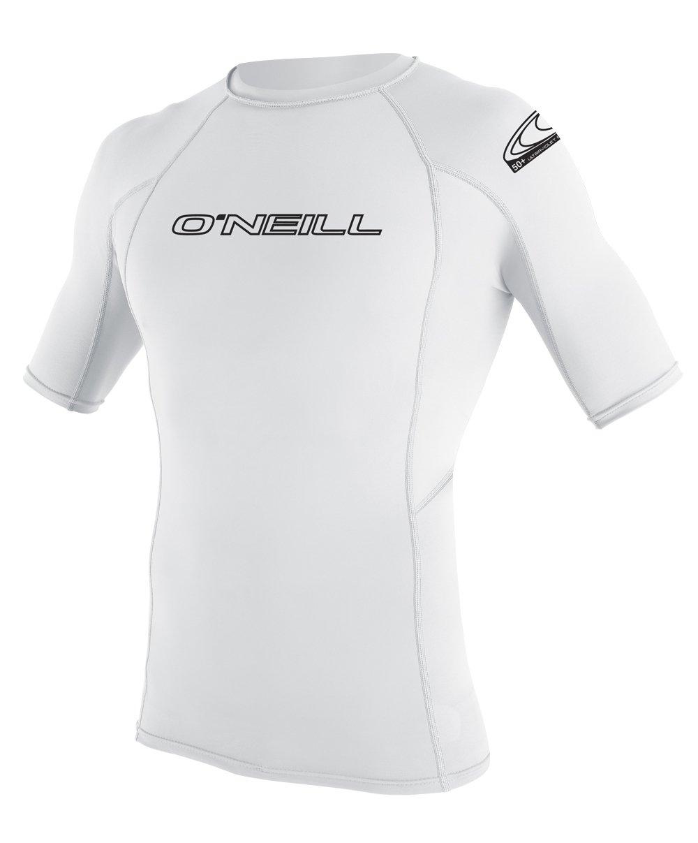 O'Neill  UV Sun Protection Youth Basic Skins Short Sleeve Crew Sun Shirt Rash Guard, White, 12