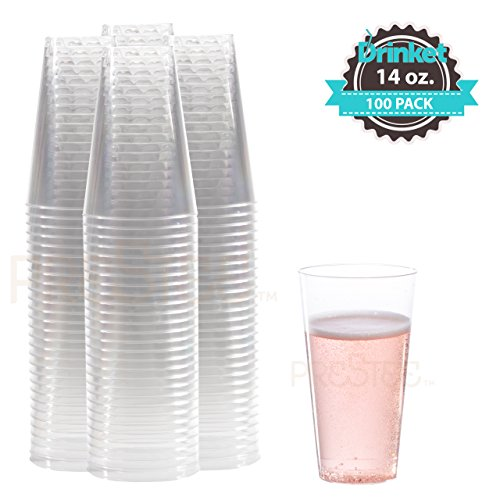 Clear Plastic Disposable Cups | 14 oz. 100 Pack | Tall Plastic Glasses | Party Tumbler Cups | Heavy Duty Hard Plastic Cups | For Wine, Champagne, Cocktails, Beer, Water [Drinket Collection]