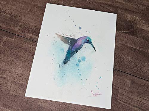 Flying Bird Print Watercolor Hummingbird Print Hummingbird Decor Hummingbird Painting