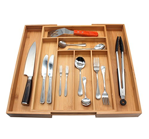 Flatware Organizer, M MH ZONE Bamboo Cutlery Flatware Tray 8 Slot Expandable Utensil Organizer