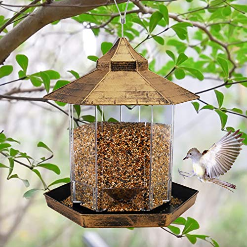 Hanging Wild Bird Feeder Gazebo Birdfeeder Outside Decoration-Perfect for Attracting Birds on Outdoor Garden Yard for Bird Lover Kids, 2.6lb Capacity Hexagon Shaped with Roof Avoid Weather and Water