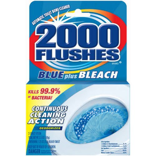 2000 Flushes 208017 Blue Plus Bleach Antibacterial Automatic Toilet Bowl Cleaner 3.5 OZ (Pack of ()