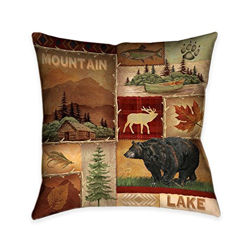 Laural Home Lodge Collage I Decorative Pillow, Brown Collage Pillow