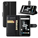 OnePlus X Case, Fettion Premium PU Leather Wallet Flip Case Cover with Stand Card Holder for OnePlus X 2015 Phone (Wallet - Black)