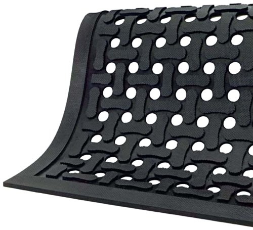 Comfort Flow Black Rubber Commercial Kitchen Drainage Mat, Anti-Fatigue, Slip and Grease/Oil Resistant 6' Length x 4' Width, Black by M+A Matting Anti Fatigue Grease Resistant Mat