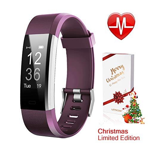 LETSCOM Fitness Tracker HR, Activity Tracker Watch Heart Rate Monitor, Waterproof Smart Bracelet Step Counter, Calorie Counter, Pedometer Watch Kids Women Men, Android & iOS, Christmas ()