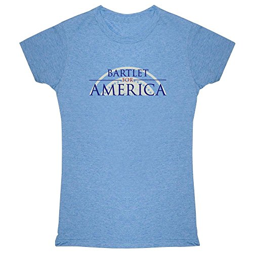 Pop Threads Jed Bartlet For America Presidential Campaign Heather Blue L Womens Tee Shirt (Wing T-shirt West)