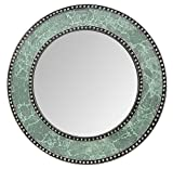 Decorshore 24″ Green Mosaic Decorative Wall Mirror, Crackle Glass Design