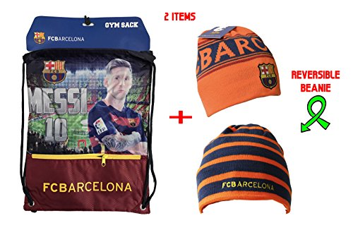 Fc Barcelona Gym Sack Bag Drawstring Backpack Cinch Bag Authentic Official Messi 10 (Yellow)