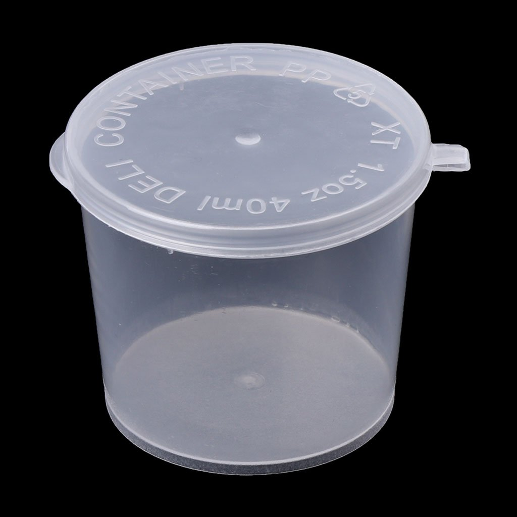 Tebatu Plastic Disposable Sauce Cup Clear Salad Dressing Food Storage Containers + Lids by Tebatu (Image #9)