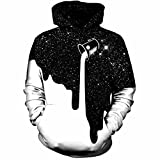 male space sweatshirt - Pettstore Fashion Dripping Milk Space Graphic Mens 3D Print Pullover Hoodies, Casual Baseball Uniform For Lovers (S/M, Black White)