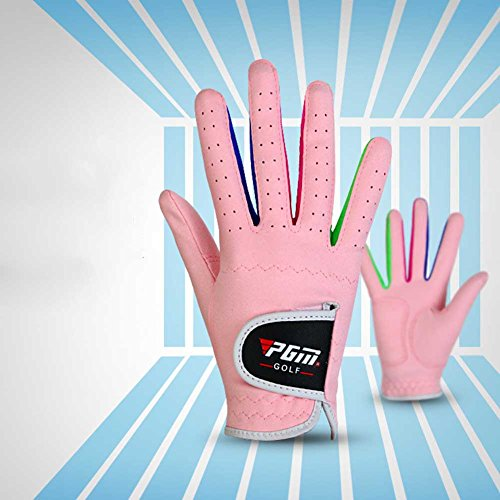 (PGM Microfiber Unisex Junior Golf Gloves, Pink and White Color for your choice,pack of 1 pair)
