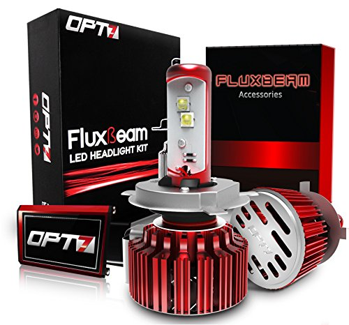 OPT7 Fluxbeam LED Headlight Kit w/ Clear Arc-Beam Bulbs - H4 (9003) - 80w 7,000Lm 6K Cool White CREE - 2 Yr Warranty