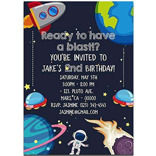 Amazon Universe Outer Space Birthday Party Invitations Handmade