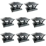 iGlow 8 Pack Black Outdoor Garden 6 x 6 Solar SMD LED Post Deck Cap Square Fence Light Landscape Lamp PVC Vinyl Wood