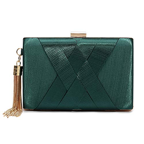 Women's Evening Clutch Bag Stain Fabric Bridal Purse For Wedding Prom Night Out Party (Green)