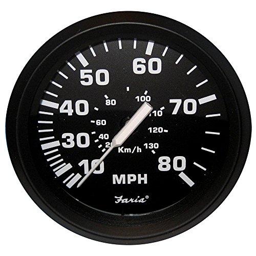 Faria Beede Instruments 32812 Faria Euro Black 4″ Speedometer 80MPH Mechanical