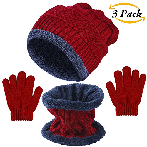Aneco 3 Pieces Knitted Beanie Hat Scarf and Snow Gloves Set Knit Scarves Stretch Hat Screen Mitten for Boy & Girl Winter Warm