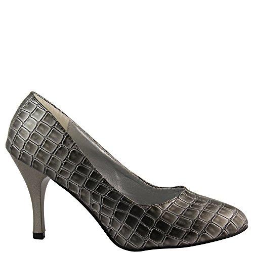Bomba De Luxo Extravagante Nos Crocodilo-look 9 Cm Cravado Partido Damenschuhe V1501