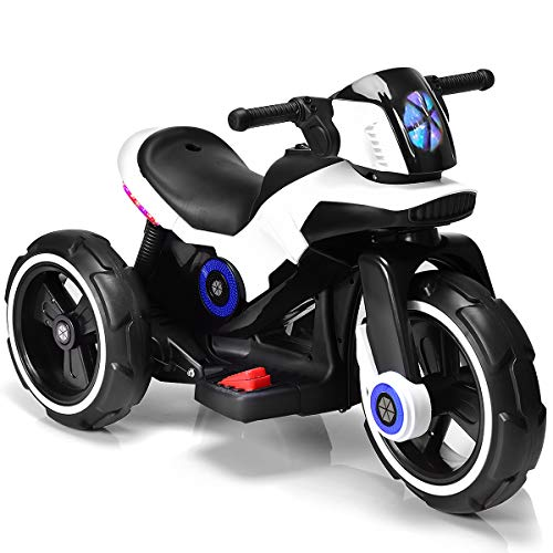 Costzon Kids Motorcycle 6V Bicycle 3 Wheels Battery Powered W/ MP3 for Boys & Girls, Children Electric Ride on (White & Black) (Best Bike For 8 Year Old Boy)