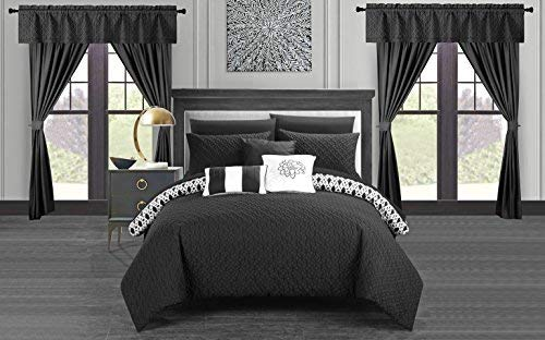 Chic Home Sigal 20 Piece Comforter Set Reversible Geometric Quilted Design Complete Bed in a Bag Bedding - Sheets Decorative Pillows Shams Window Treatments Curtains Included King Black
