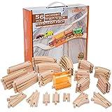 Orbrium Toys 56 Piece Wooden Train Track Expansion Pack with Tunnel Fits Thomas Brio Chuggington Melissa & Doug Imaginarium Set