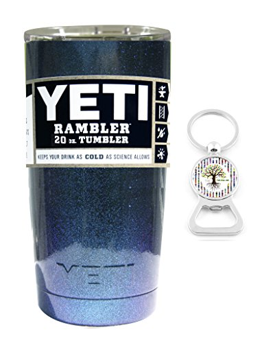Custom YETI Coolers Powder Coated or Hydro Dipped Insulated Stainless Steel 20 Ounce (20 oz) (20oz) Rambler Tumbler Travel Cup Mug with Lid and Bottle Opener Keychain (Chameleon Teal Shimmer)