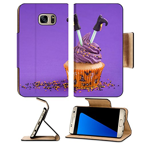 [Luxlady Premium Samsung Galaxy S7 Edge Flip Pu Leather Wallet Case IMAGE ID: 22167569 Halloween cupcake with witch] (Easy Decorated Halloween Cupcakes)