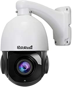 High Speed 5MP H.265 PTZ POE IP Security Dome Camera with 20X Optical Zoom Pan/Tilt and Waterproof IR-Cut Night Vision for Indoor and Outdoor Security