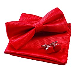 Men\'s Solid Formal Banded Pre-tied Bow Ties Set (Red)