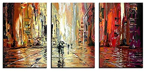 YPY Abstract Knife Style Canvas Print Wall Art 3 Piece Modern Landscape Picture Artwork for Home Decoration (C303, L)