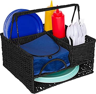 Trademark Innovations Rattan Tabletop Serveware & Condiment Organizer & Caddy by (Black)