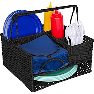 "Trademark Innovations 12"" x 11"" Rattan Tabletop Serveware and Condiment Organizer and Caddy (Black)"