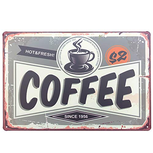 UNIQUELOVER Hot & Fresh Coffee Since 1937 Premium Quality Extra Strong Best Coffee in Town Tin Sign Retro Vintage Metal Plaque Poster for Cafe Bar Pub Beer Club Home Wall Decor Art 12