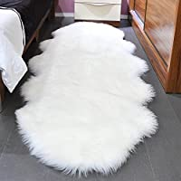 Noahas Faux Sheepskin Area Rugs Silky Long Wool Carpet for Living Room Bedroom, Children Play Dormitory Home Decor Rug (2.6x5.2 feet, White)