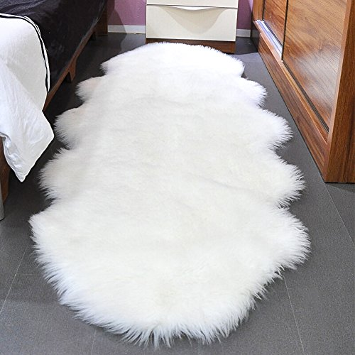 Noahas Faux Sheepskin Area Rugs Silky Long Wool Carpet for Living Room Bedroom, Children Play Dormitory Home Decor Rug, 2' x 6' White