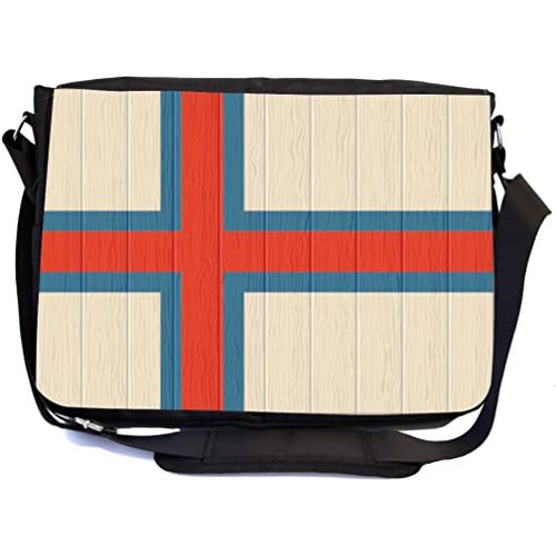 Rikki Knight Faroe Islands Flag on Distressed Wood Design Multifunction Messenger Bag - School Bag - Laptop Bag - with padded insert for School or Work - includes Pencil Case