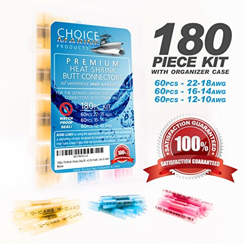 Choice Marine - 180pc Premium Heavy Duty Marine Grade Heat Shrink Butt Connectors: Adhesive Lined Waterproof Seal, Easy Crimp, Low-Heat Rapid Shrink, Qty 60 each 12-10, 16-14, 22-18 AWG Perfect for boats, cars & home