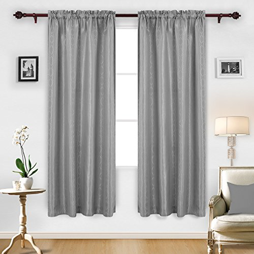 Panel 84l (Deconovo Jacquard Luxurious Wave Pattern Curtains with Rod Pocket Window Panels for Kids Room 52W x 84L Grey 2 Panels)