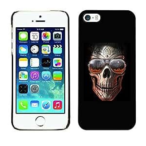 LASTONE PHONE CASE / Carcasa Funda Prima Delgada SLIM Casa Carcasa Funda Case Bandera Cover Armor Shell para Apple Iphone 5 / 5S / Rock Skull Black Metal Shades Cool Hell