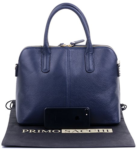 or Includes Sacchi Textured Shoulder Handbag Primo Tote Style Navy Bag Grab Made Bowling Italian a Bag Hand Blue Protective Branded Leather Storage Bag Zwxd7xp
